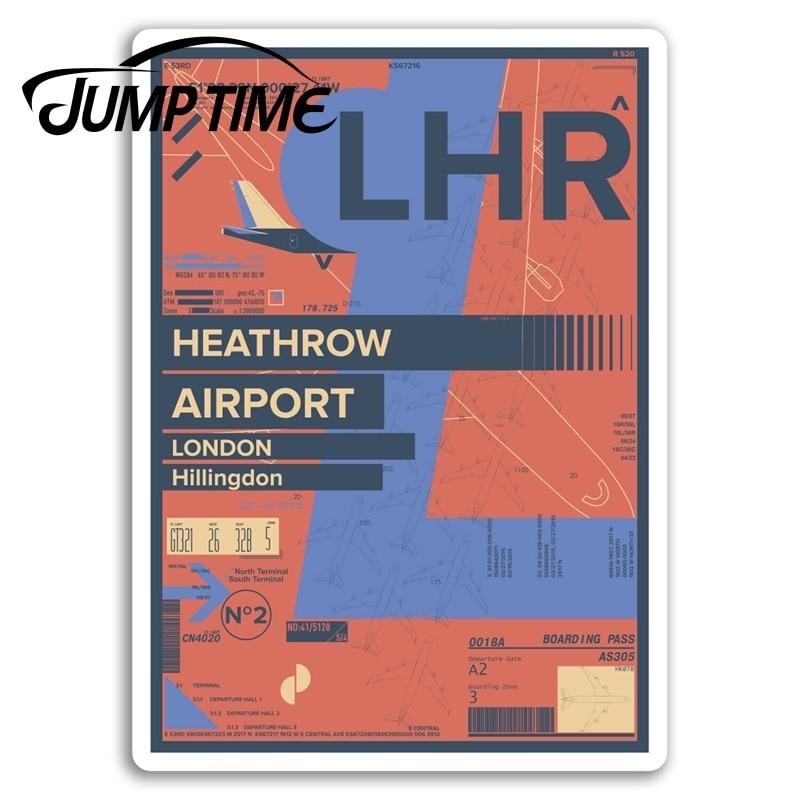 Jump Time Heathrow Airport Vinyl Stickers London England Travel Sticker Waterproof Car Decal Window Bumper Auto Accessories