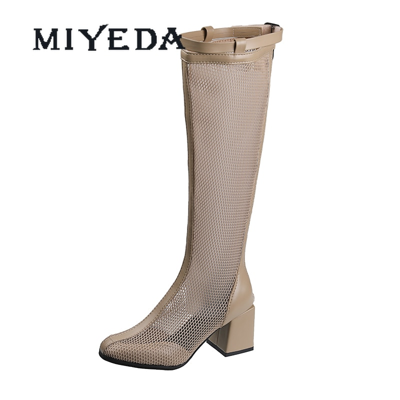 MIYEDA Women's High Boots Buckle Fashion Square Heel Breathable Female Shoe Leather Mesh Zipper Sexy Laies Office Shoes