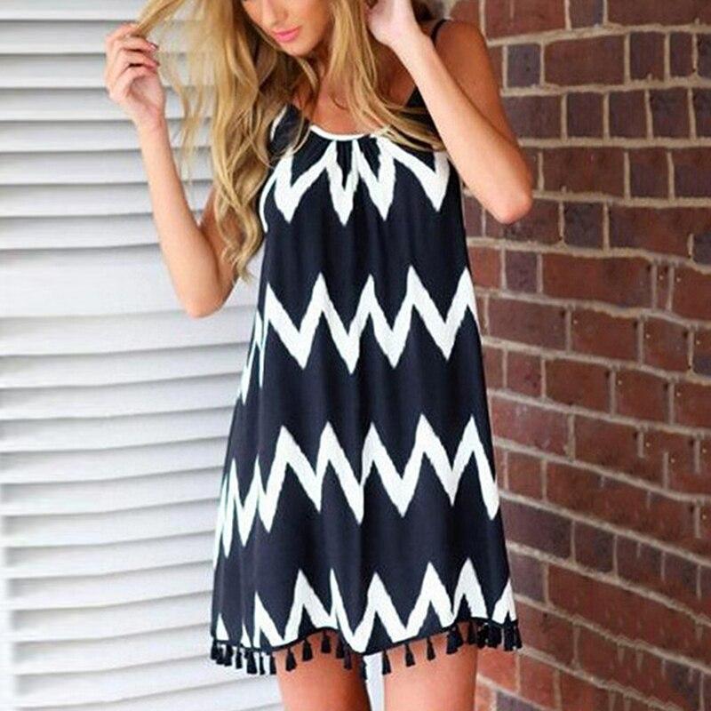 Женское пикантное платье, летнее праздничное платье в полоску с волнистым узором, Новое поступление 2021, летние пляжные мини-платья на бретелях без рукавов с бахромой