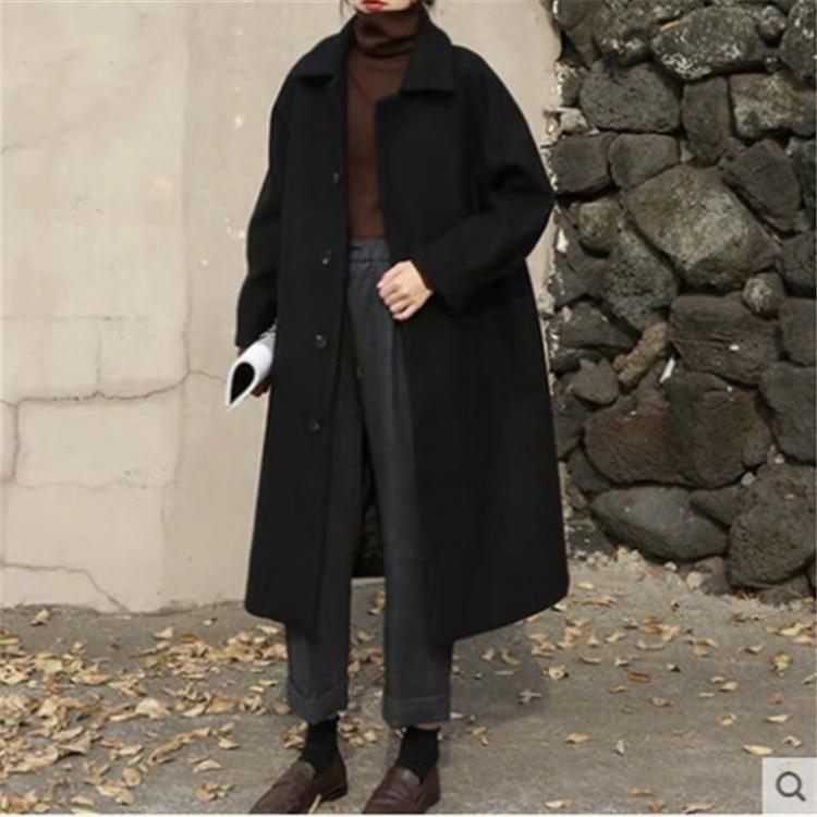 معطف من الصوف بنمط هيبورن معطف نسائي طويل ومتوسط كوري فضفاض للخريف والشتاء معطف جديد سميك من التويد للركبة