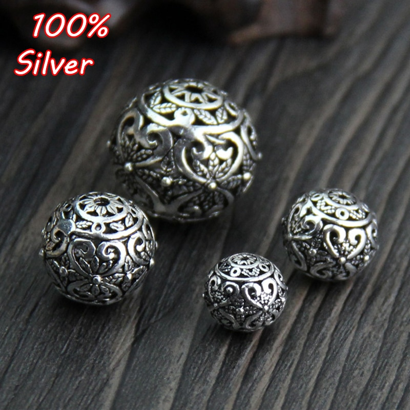 sa silverage 925 sterling silver round bracelets 925 Sterling Silver Color Round Hollow Spacer Beads Retro Handmade Charm Ball Beads DIY Bracelets Jewelry Making Findings
