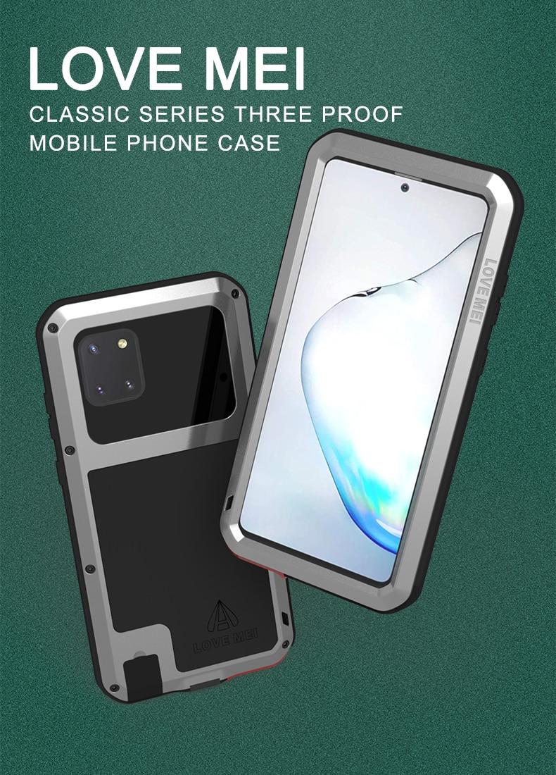Funda para Samsung Galaxy Note 10 Lite, funda con armadura de Metal de gran alcance Love Mei, a prueba de golpes y suciedad, funda resistente al agua para Note 10 Lite