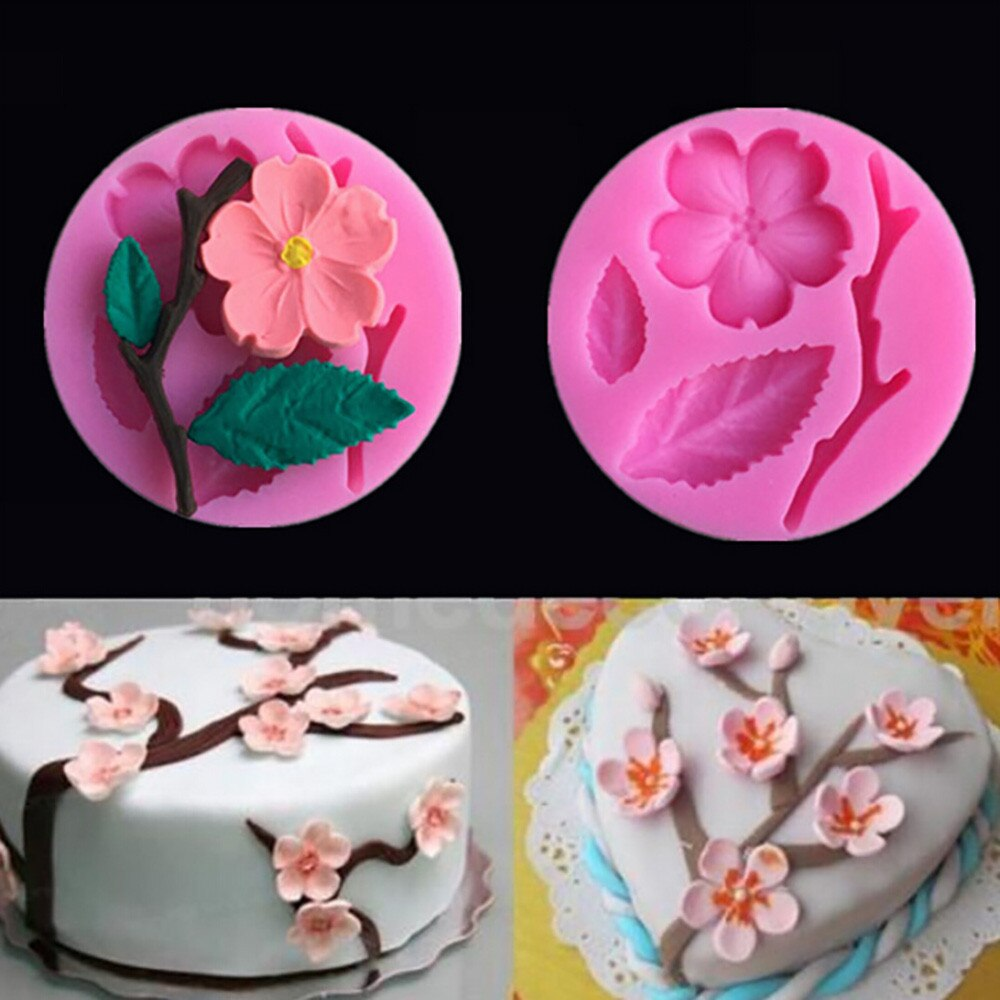 Moldes de silicona de flor de melocotón forma utensilios para decoración de tortas con Fondant moldes de pastel de mal gusto durable de Chocolate molde 25