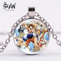 anime collection one piece choker necklace for women cute luffy pendant necklace chain cosplay figures new fashion jewelry gifts