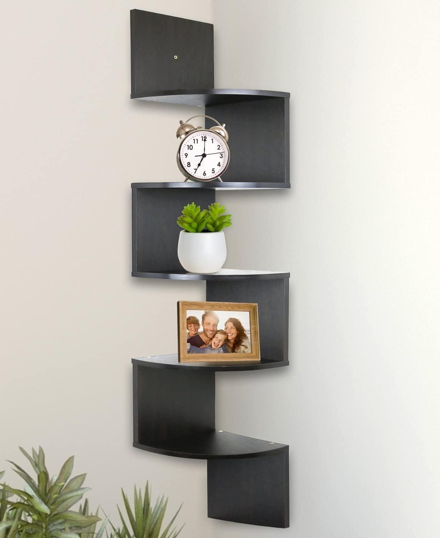 رف زاوية عائم على الحائط ، دعم 2/5/7 مستويات ، ديكور منزلي أو مربي مطبخ