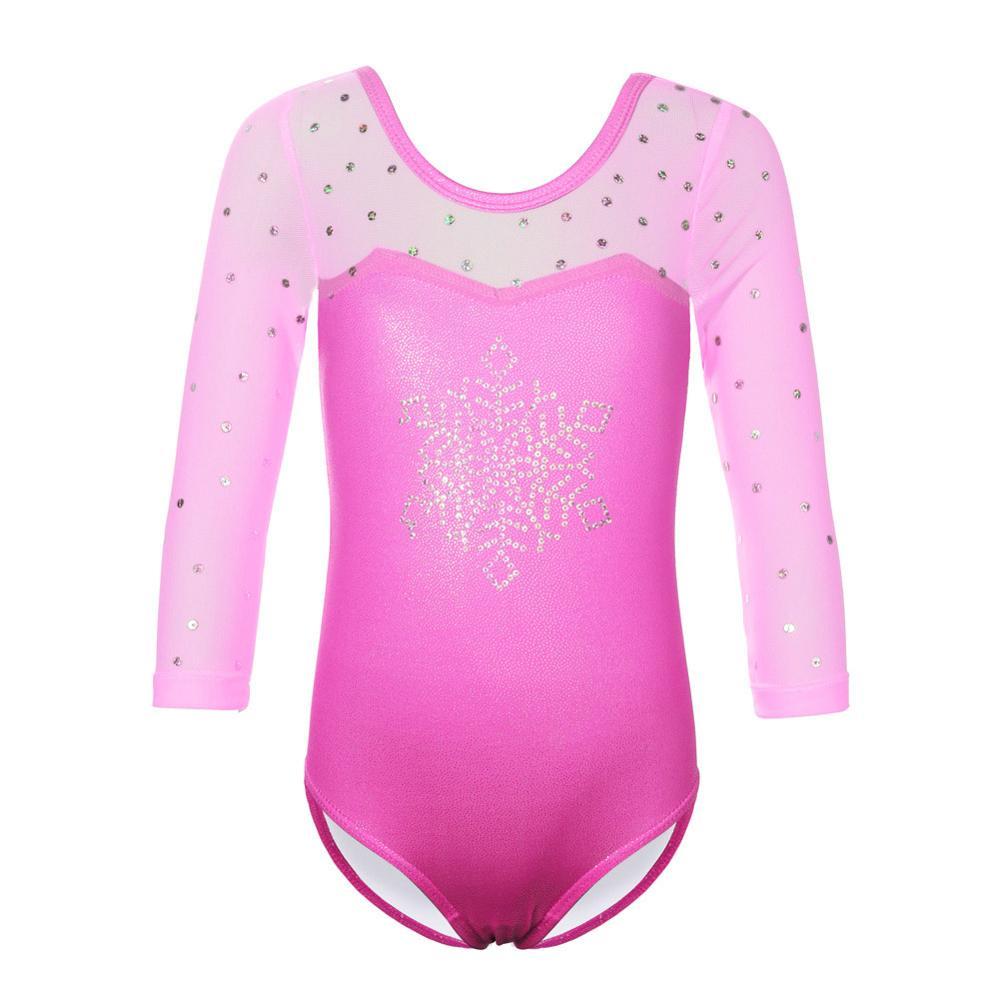 BAOHULU, leotardo rosa para gimnasia para niñas pequeñas, copo de nieve, lentejuelas, leotardo de Ballet, traje de atletismo para niños, mono de baile