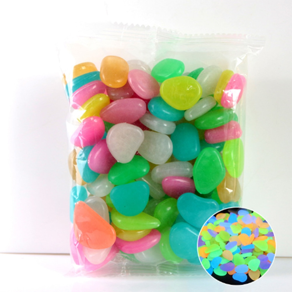 100pcs  Luminous Pebbles Rocks Garden Ornaments Stone Glow In The Dark Garden For Walkways Fish Tank Decorations