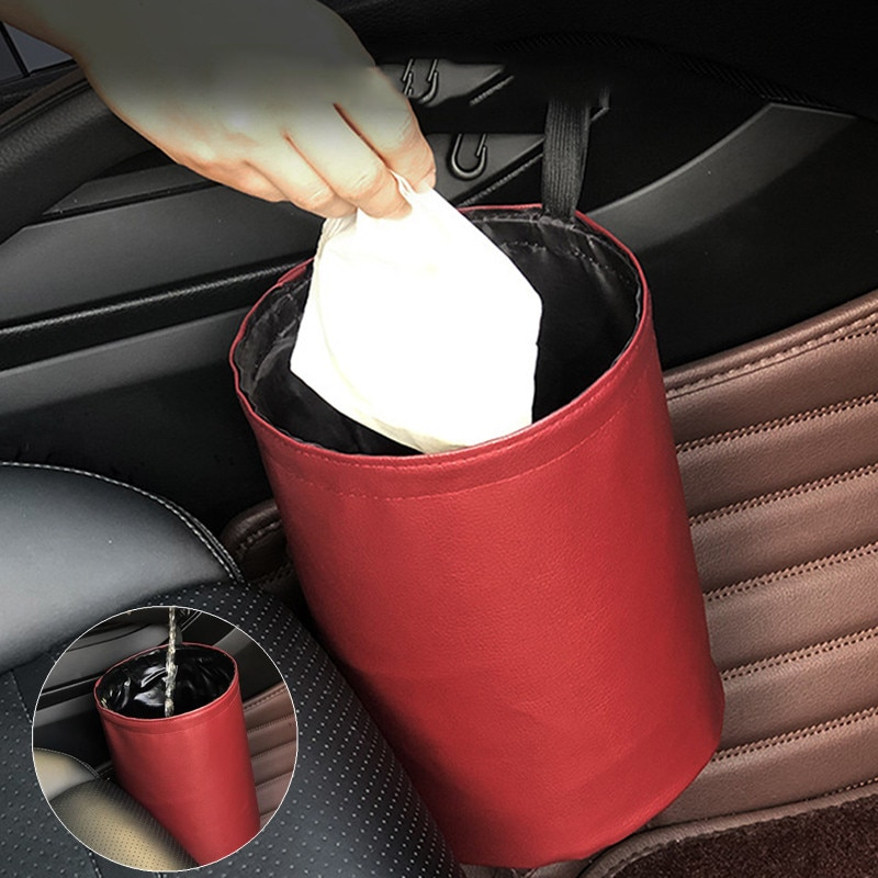 Car Trash Can Foldable Leather Leak Proof Waterproof Car Dust Bin Bucket Hanger Garbage Container Po