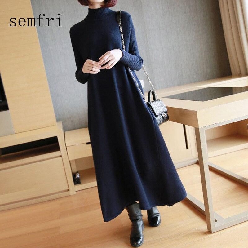 Semfri Elegant Long Womens Dress 2020 Nordic Style Plus Size Sweater Dresses High Quality Winter O-neck Knitted Dress