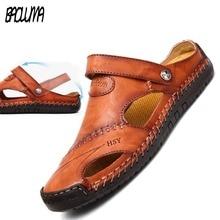 Cuir véritable hommes sandales été chaussures souples plage hommes sandales haute qualité sandales pantoufles bohême taille 38-48 offre spéciale