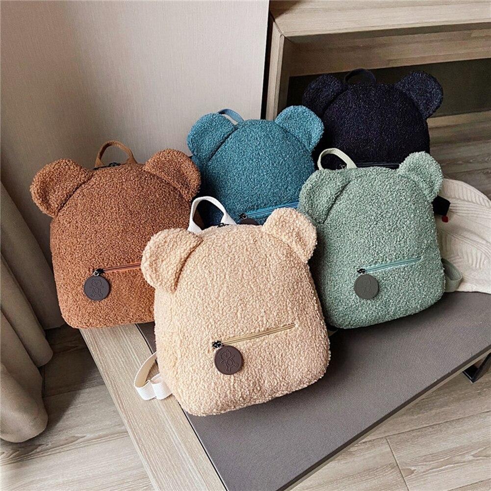 Portable Children Travel Shopping Rucksacks Casual Autumn Winter Lamb Fleece Women's Bagpack Cute Bear Shaped Shoulder Backpack