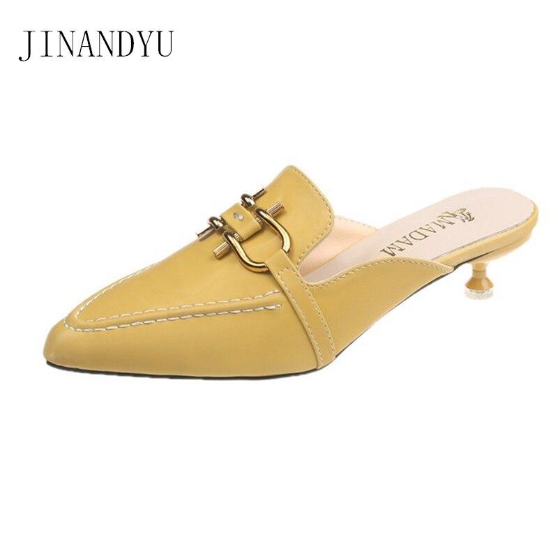 Womens Mules Lolita Shoes Girls Sandals Women Slippers Summer Shoes Woman Yellow Heels Women Party Slippers Femme Pantoufles