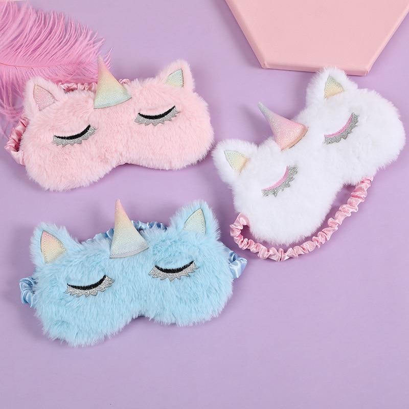 Mascarilla de unicornios de dibujos animados, máscara para dormir, sombra de ojos de felpa, máscara relajante, ideal para viajes, Fiesta en casa, regalos