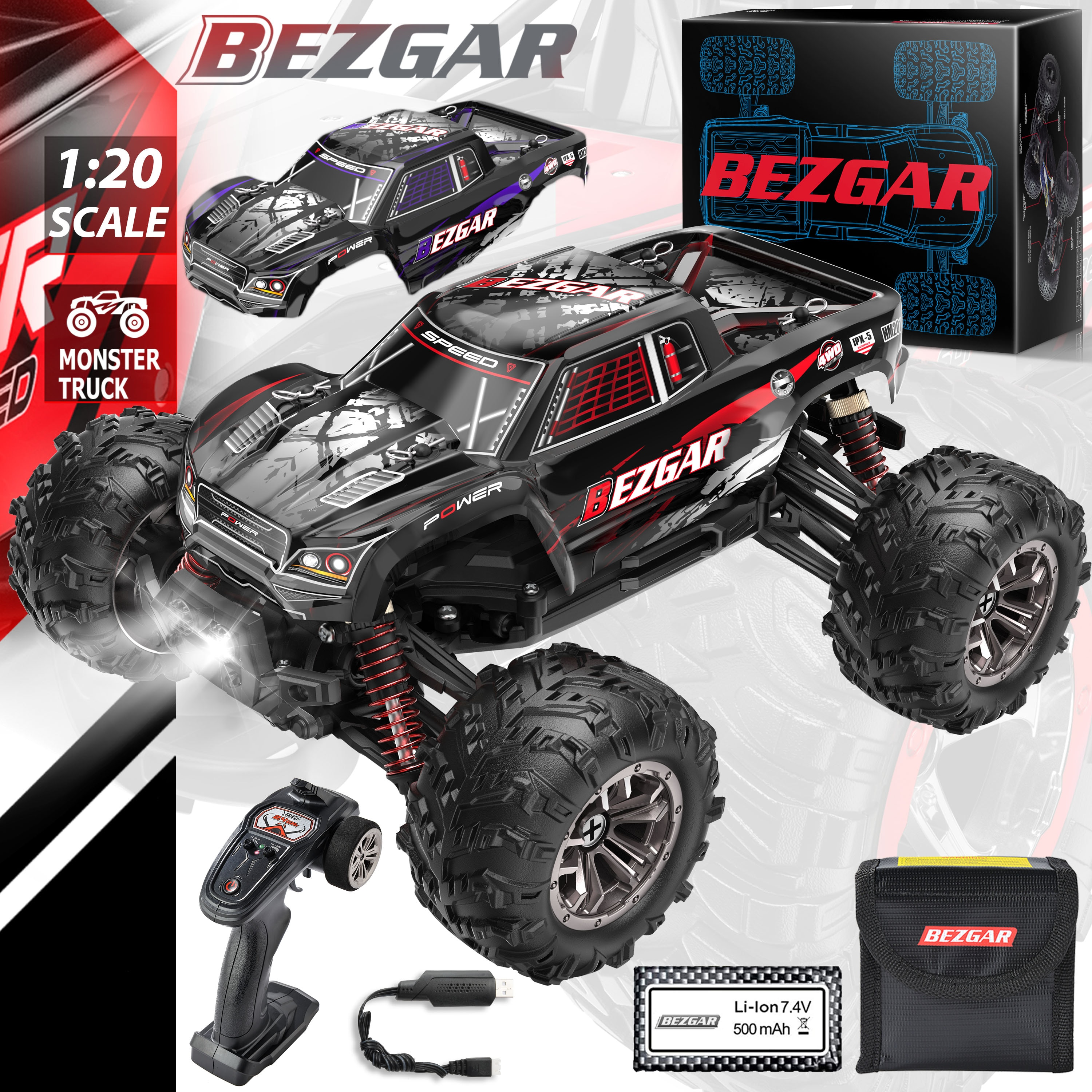 BEZGAR HM201 Hobby RC Car 1:20 All-Terrain 30Km/h Off-Road 4WD Remote Control Monster Truck Crawler with Battery for Kids Adults
