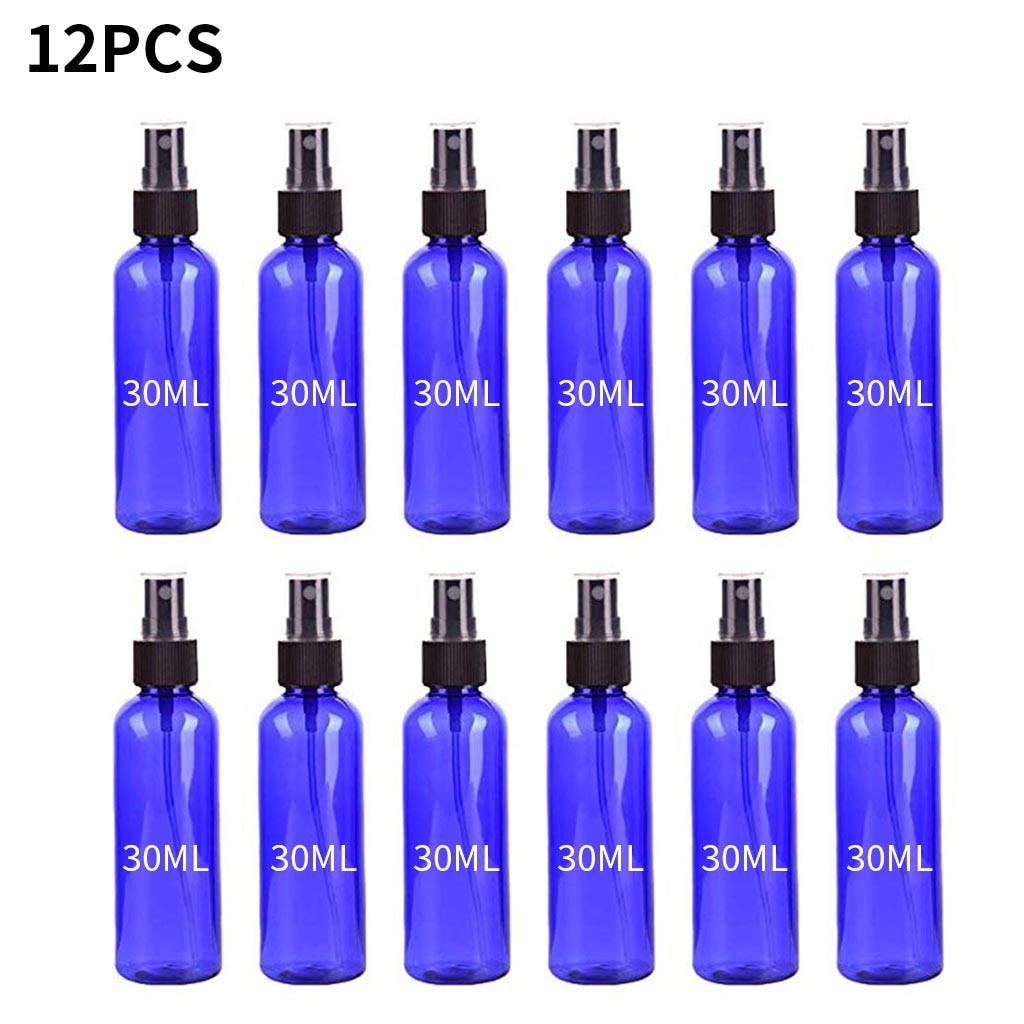 12PCS Spray Bottle Cosmetic Dispenser Travel Kit Plastic Transparent Beauty Containers Set Hand Antiseptic Mini Mist Spray 30ML