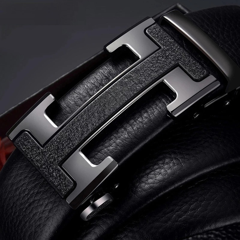Brand-Name genuine leather automatic buckle top layer cowhide belt pure men's business pants belt H-shaped belt buckle