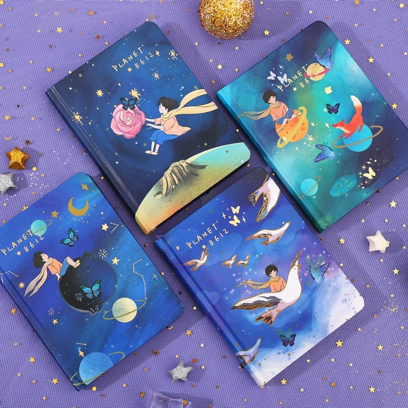 Fly To The Space Outside Creative Cartoon Hardcover Notebook Colorful Pages 80 Sheets 2021 School Office Students Planner Gift
