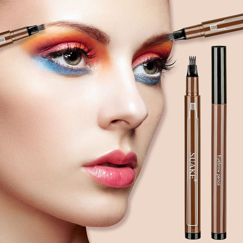 Four-claw Eyebrow Pencil Lasting No Blooming Waterproof  Sweatproof Extremely Fine Tattoo Brow Pen W