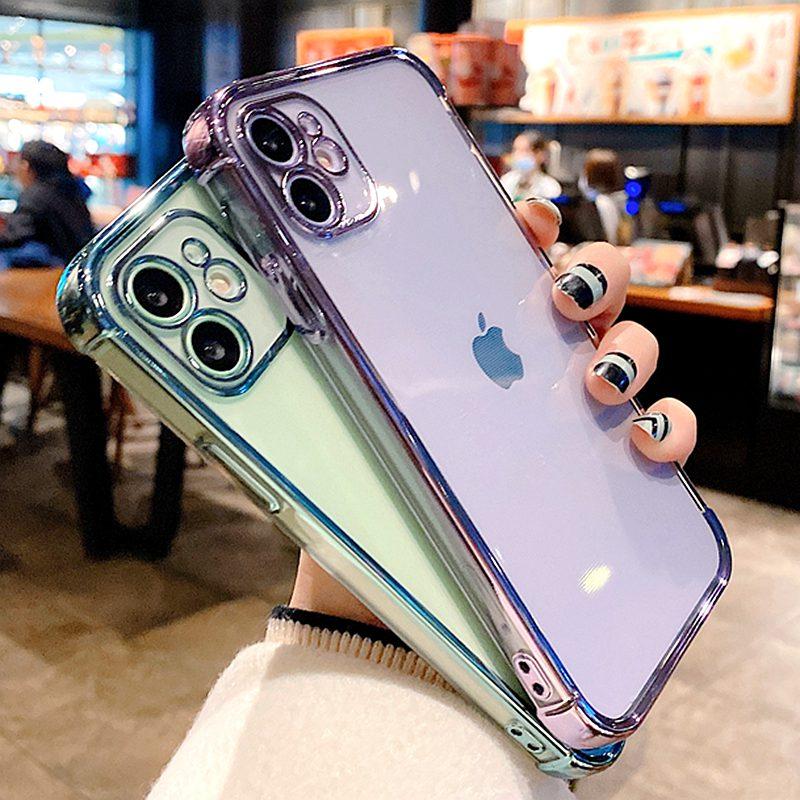 Funda de teléfono galvanizada suave para iPhone protector transparente para iPhone 11...