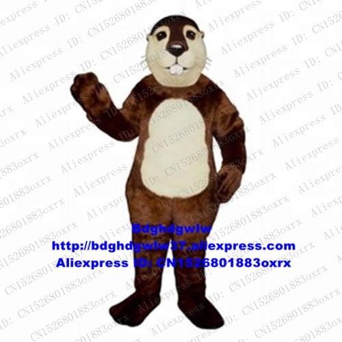 Brown Long Fur Otter Lutra Beaver Nutria Coypu Groundhog Bobac Tarabagane Mascot Costume Carnival Fiesta THEME PARK zx2706