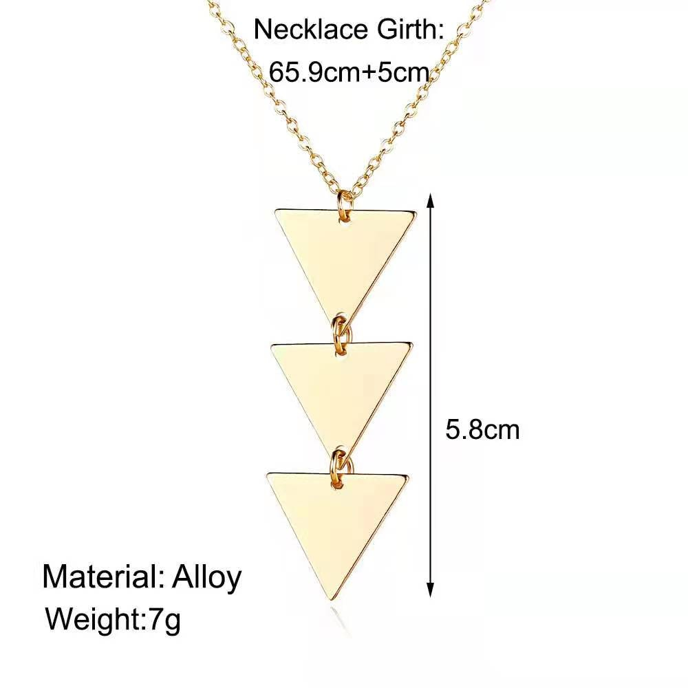 Fashion Personality Women's Necklace Creative Long Chain Metal Smooth Triangle Pendant Necklace 2021 Trend Product Party Gift  - buy with discount