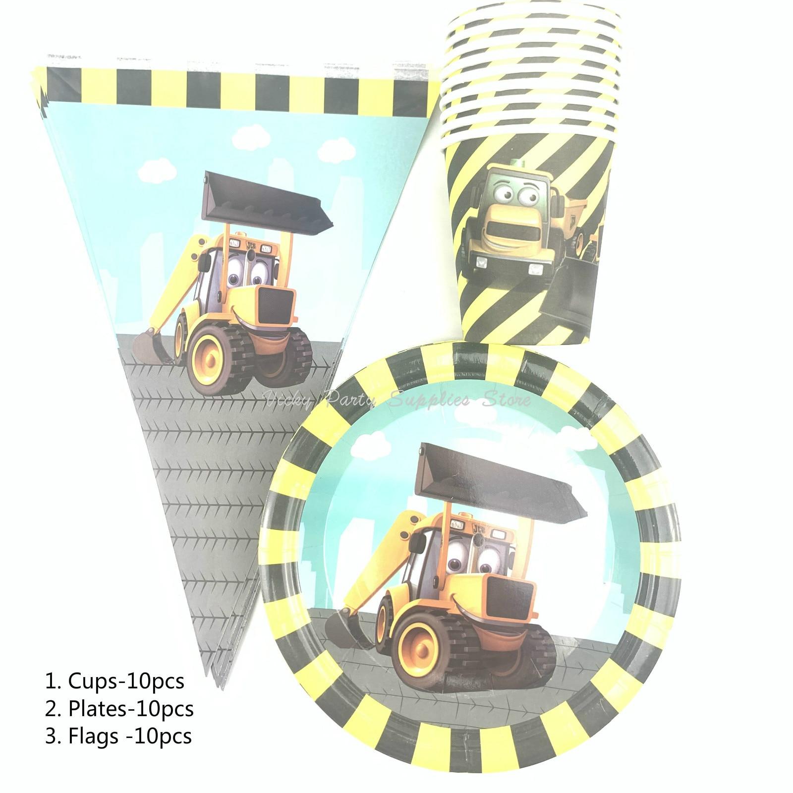 30 pcs/lot tracteur pelle thème fête vaisselle jetable Rooter anniversaire bébé douche ensembles enfants fête décoration fournitures