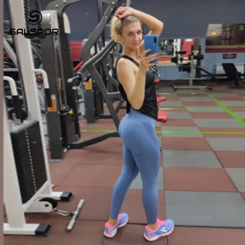 SALSPOR Ladies Sexy Bubble Butt Legging Push Up Workout Leggins High Waist Gym Pants Women Leggings for Fitness