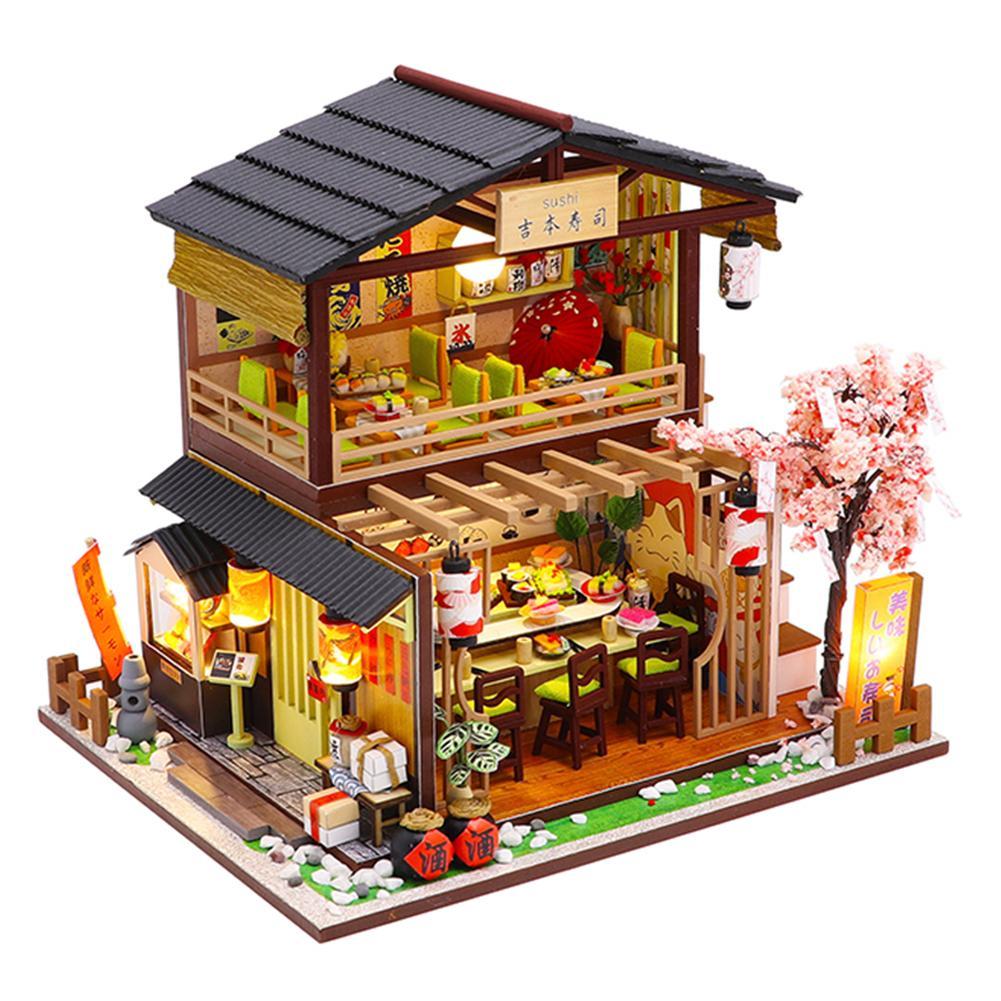 DIY casa de muñecas Kit de Madera 3D montado Sushi tienda hecha a mano casa Mini cabaña para Navidad cumpleaños regalo de San Valentín Madera