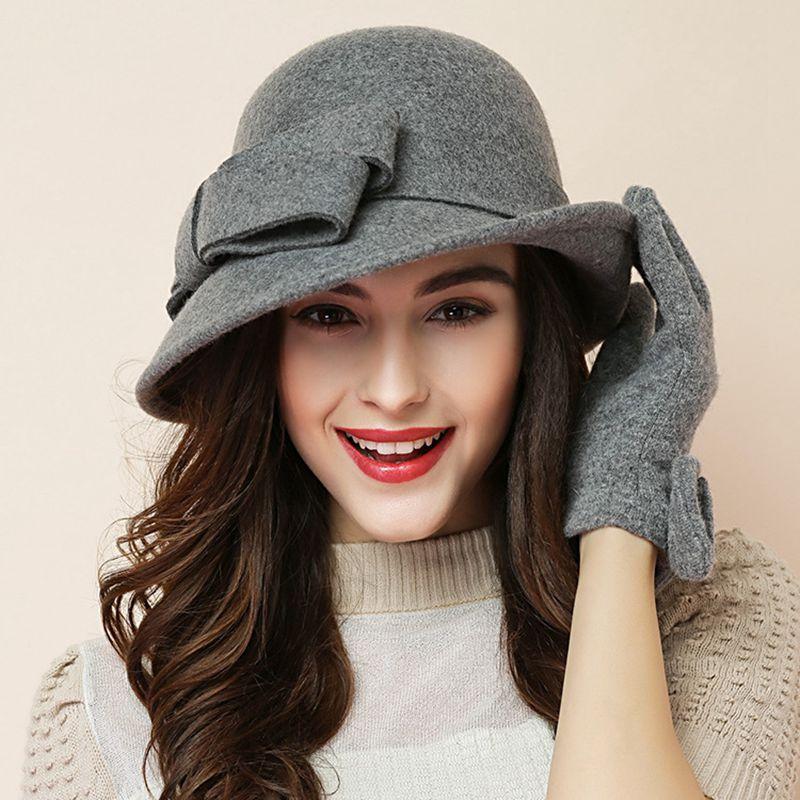 Women Party Formal Headwear Lady Winter Fashion Asymmetric Bowknot 100% Wool Felt Hats