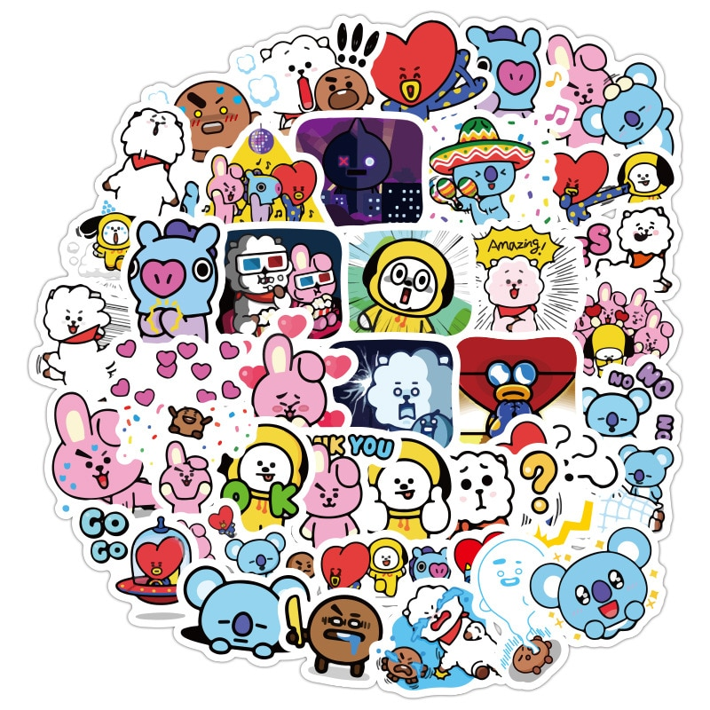 48 universe exploration bangtan boys cartoon kawaii Cute Girls laptop phone computer water cup waterproof sticker Kids Toys