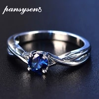 pansysen fashion 100 real sapphire silver 925 ring womens 5mm round gemstone engagement ring fine jewelry ringen drop shipping