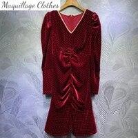 autumn winter womens high quality pearls v neck velvet dress fashion women long sleeves polka dot party dress c726