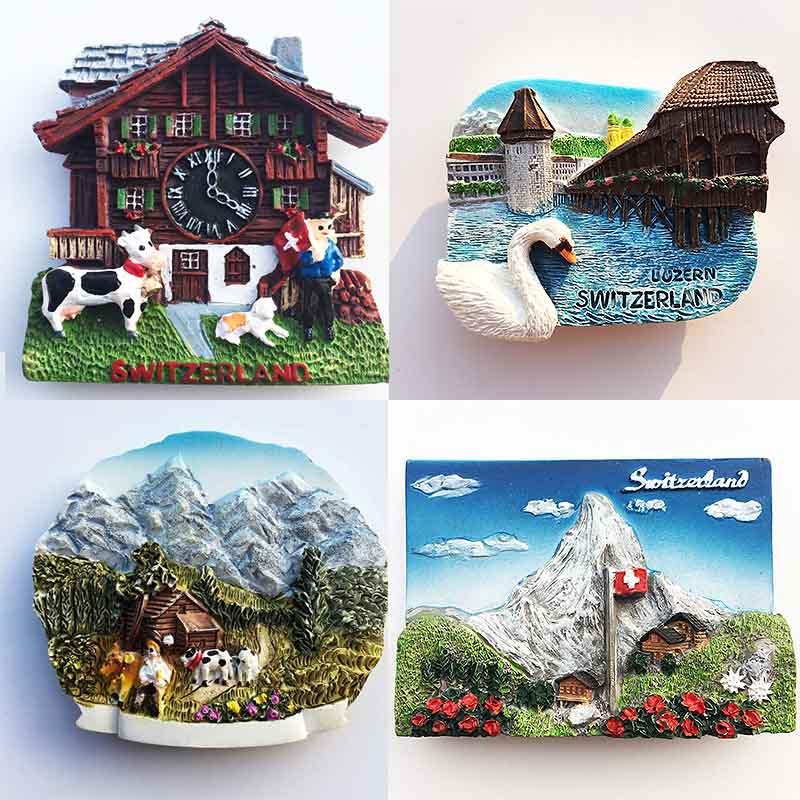 Imanes recuerdo para nevera Suiza Lucerne Jungfrau capilla puente Cuco reloj turismo imanes para la nevera