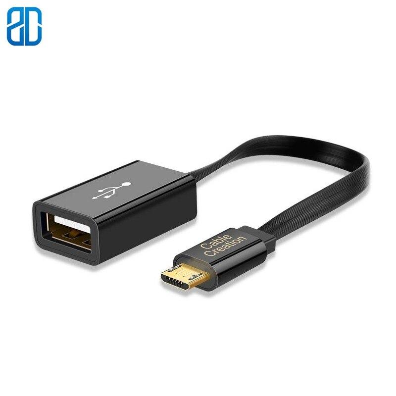 Cable Micro USB 2,0 OTG, adaptador plano en movimiento, Micro USB macho...