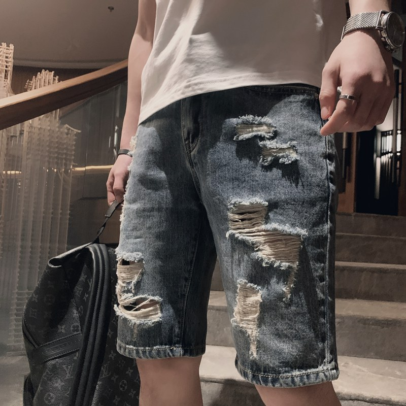 Summer New Ripped Men Shorts Trendy Casual Straight Hole Five-point Pants Hip Hop Beggar Loose Male Denim Shorts