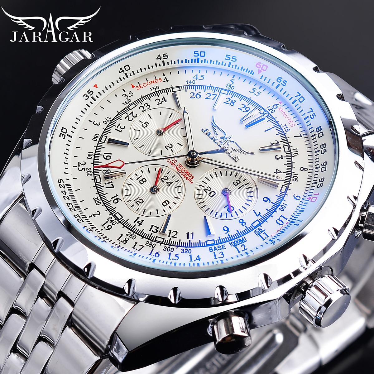 Jaragar-ساعة ميكانيكية أوتوماتيكية من الفولاذ المقاوم للصدأ ، تصميم زجاجي أزرق فاتح ، ساعة رياضية للأعمال