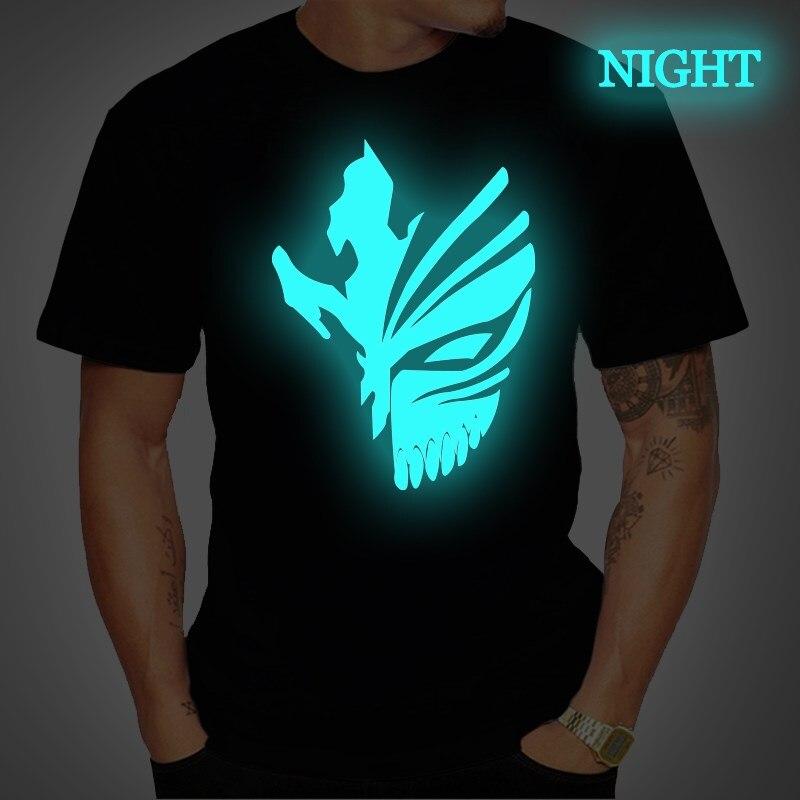 Хлопковые мужские футболки с изображением аниме «Bleach» Kurosaki Ichigo, светящиеся футболки с коротким рукавом, уличная футболка размера плюс 4XL