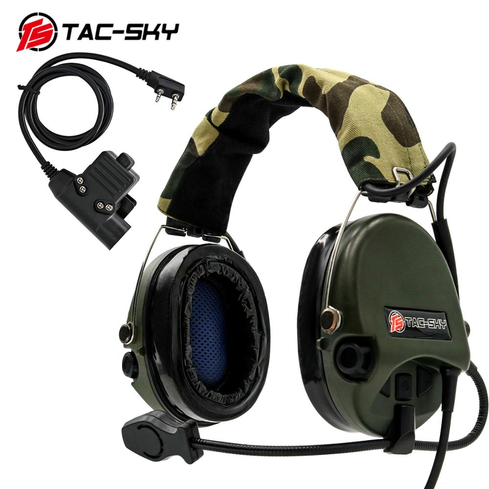 TAC-SKY SORDIN silicone earmuffs noise reduction pickup hunting headset tactical shooting headset + military adapter U94 PTT  FG