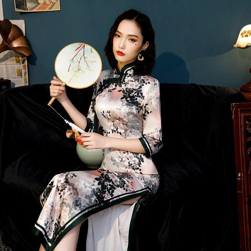 Seda do vintage longo qipao traje manga longa cheongsam vestido chinês feminino estilo chinês tradicional qipao S-4XL
