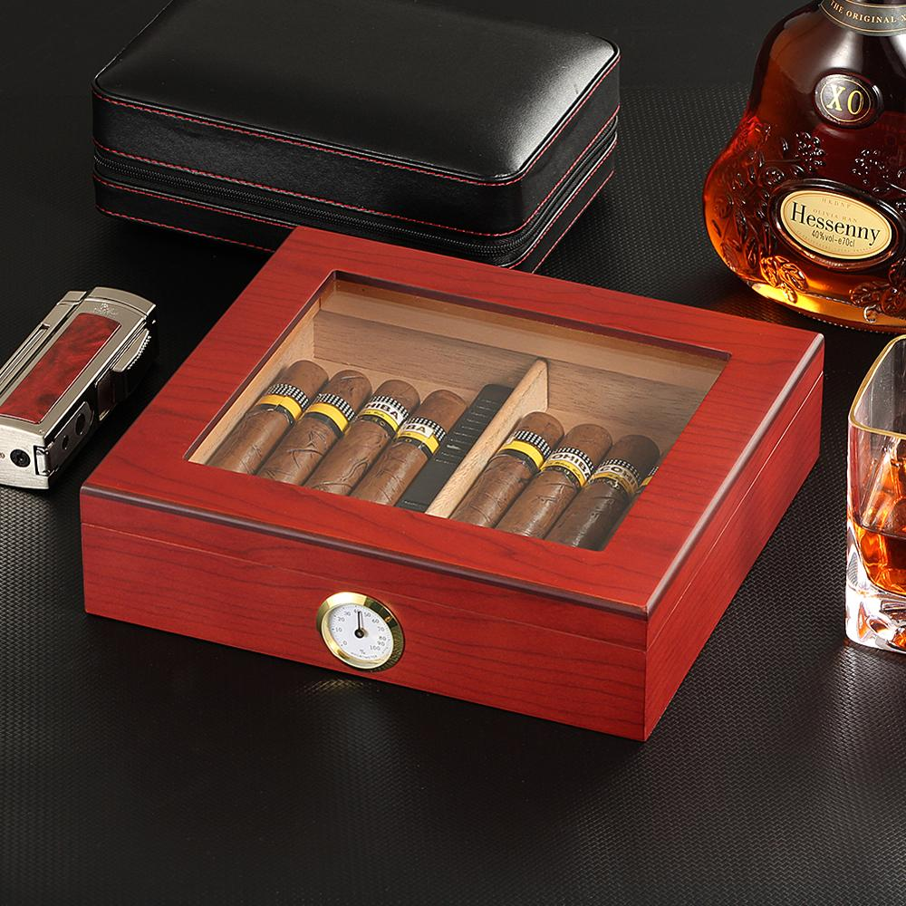 AliExpress - Cedar Wood Travel Cigar Humidor Box With Humidifier Hygrometer Humidor Cigar Box Case Glass Humidors Fit 20-30 COHIBA Cigars