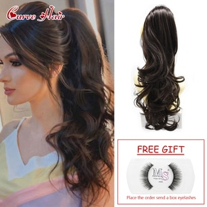 """Synthetic Jaw Claw Ponytail Wavy Curly Clip In Ponytail Extensions Hair Piece For Women 22"""" Long Thick Pony Tail Hairpiece"""