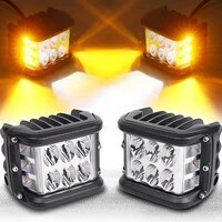 4 inch off road dual side yellow drl with flash strobe function driving flood spot cube work light bar for jeep truck atv boat