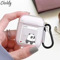 funny panda case for apple airpods 1 2 pro shockproof bluetooth wireless headphone earphone box soft silicone protection covers