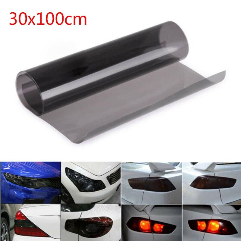 1 pieza de luces brillantes de PVC negro humo PVC película Tint 30x100 cm faro trasero cubierta de envoltura camiones, yates, barcos de motor, tableros de salpicadero