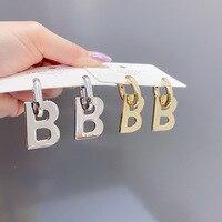 Корейские Металлические Буквы B высококачественные Висячие серьги для женщин девушек модный тренд изысканные медные висячие серьги для ве...