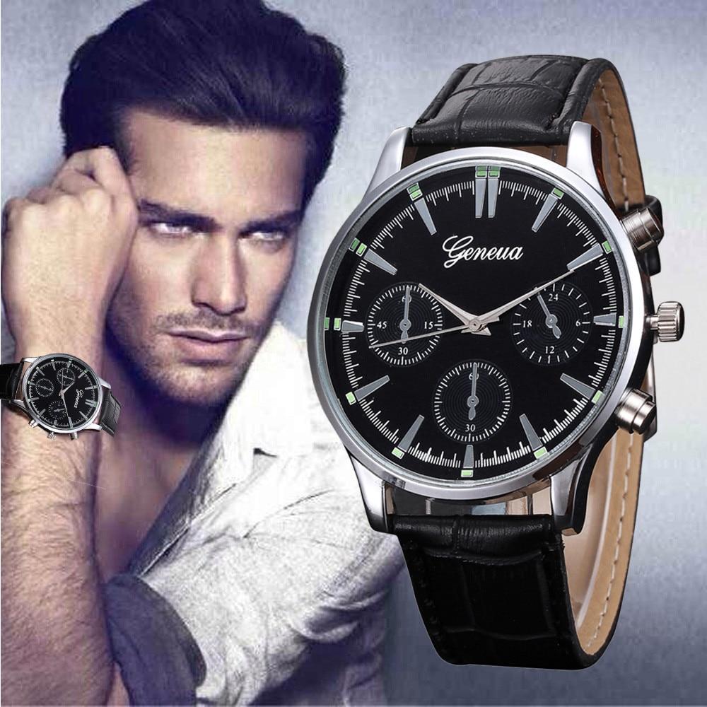 Mens Retro Design Leatherstrap Alloy Quartz Wristwatches Men Watches 2021 Luxury Designer Automatic