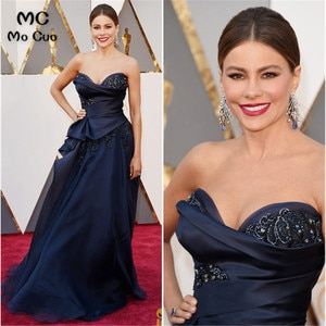 Dark Blue Red Carpet Dress Beaded Evening Dresses Sweetheart Cocktail Party Gown Celebrity Dress Prom Gown Evening Dresses