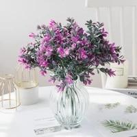 5 forks peach leaf grass wedding decorative flowers christmas wreaths vase for home decor ornamental flowerpot artificial plants