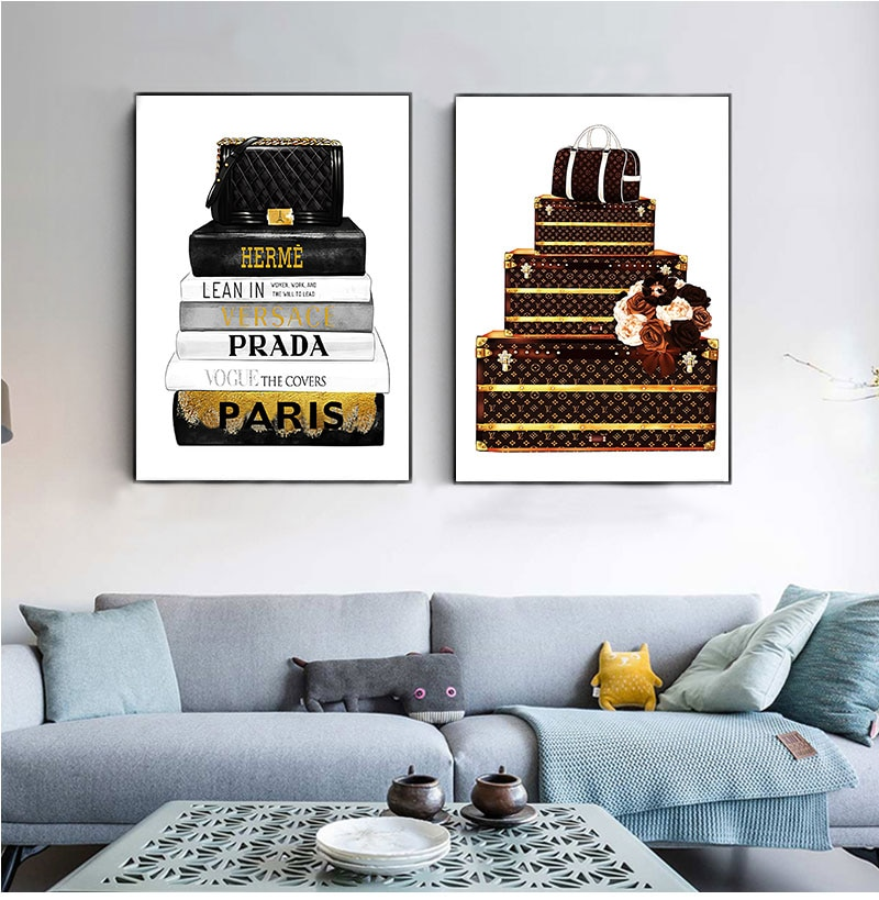 Fashion Bag Illustration Canvas Prints And s Modern Vogue Magazine Books Art Painting Wall Pictures Living Room Decor