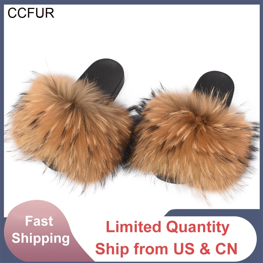 14cm Wider Fur Women Shoes Sandals Fashion Slides New Real Raccoon Fur Slippers Sliders Summer Autum